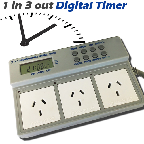 1 in 3 out digital timer
