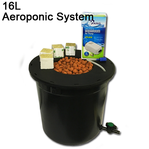 16L Single pot aeroponics pot kit with air pump medium